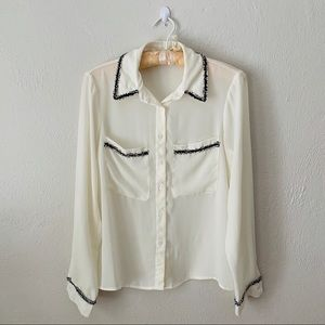 Zara Cream Button Down Blouse with Black Fringe